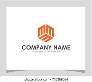 MMM initial. hexagon. box letter logo design eps 10