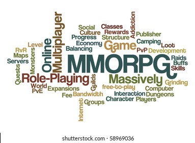 MMORPG - Massively Multiplayer Online Role-Playing Game - Word Cloud