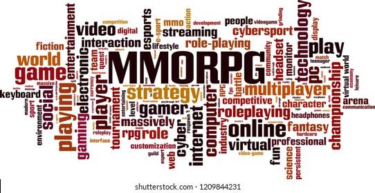 MMORPG word cloud concept. Vector illustration