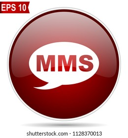 Mms cherry red glossy round web vector icon. Editable simple circle modern design internet button on white background.
