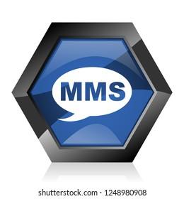 Mms dark blue glossy hexagon geometric diamond vector web icon with reflection on white background. Modern design hexagonal internet button.
