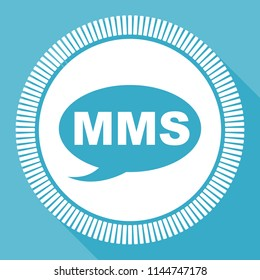 Mms editable flat vector icon, square web button, blue computer and smartphone application sign in eps 10