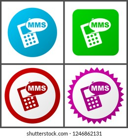 Mms red, blue, green and pink vector icon set. Web icons. Flat design signs and symbols easy to edit