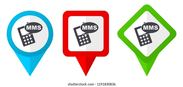Mms red, blue and green vector pointers icons. Set of colorful location markers isolated on white background easy to edit.
