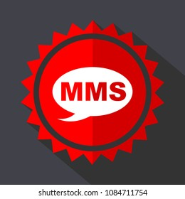 Mms red sticker flat design vector icon