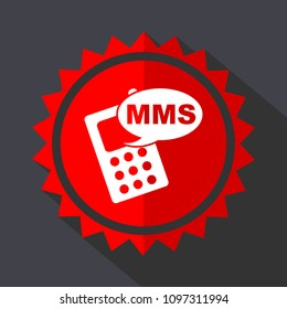 Mms red vector sticker flat design icon