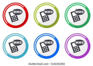 Mms vector icon set. Colorful flat design web icons on white background in eps 10.