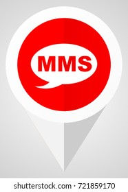 Mms vector icon. White and red web pointer in eps 10 for webdesign and smartphone applications.
