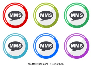 Mms vector icons, set of colorful flat design internet symbols on white background