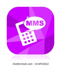 Mms violet square vector web icon. Internet design and webdesign button in eps 10. Mobile application sign on white background.