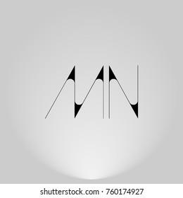 MN Black thin minimalist LOGO Design with Highlight on Gray background.