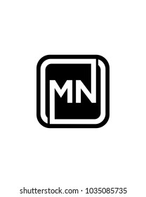 MN initial box letter logo template vector