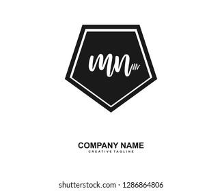 MN Initial Handwriting Logo Template Vector