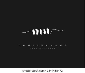 MN initial handwriting logo template with luxury color vector