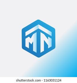 MN Initial letter hexagonal logo vector
