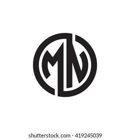 MN initial letters looping linked circle monogram logo