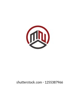 mn initial round icon logo vector