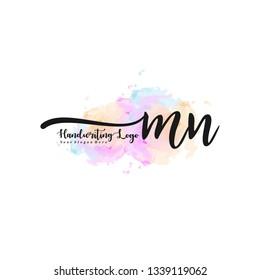 MN initial signature logo. handwriting logo template vector,