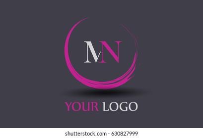 MN Letter Logo Circular Purple Splash Brush Concept.