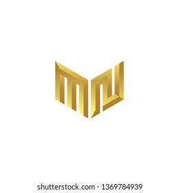 MN Logo letter initial 3d designs templete with gold colors