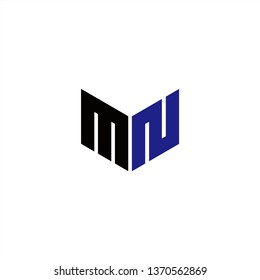 MN Logo Letter Initial With Black and Dark Purple Colors