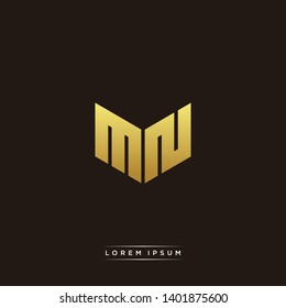 MN Logo Letter Initial Logo Designs Templete with Gold and Black Background