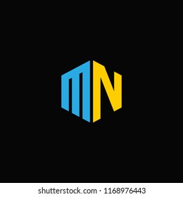 MN logo with letter M N in vector format.