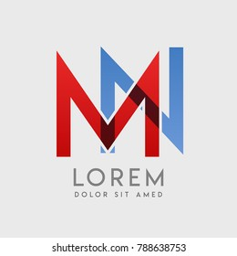 """MN logo letters with """"blue and red"""" gradation"""