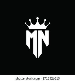 MN logo monogram emblem style with crown shape design template