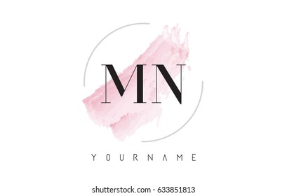 MN M N Watercolor Letter Logo Design with Circular Shape and Pastel Pink Brush.
