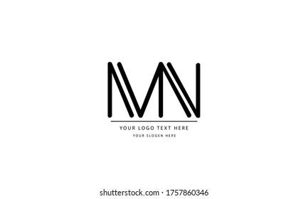 MN NM abstract vector logo monogram template