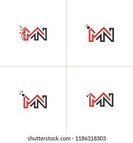 MN NM Letter Base Vector Logo Design