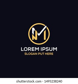 MN Or NM Letter logo design template vector