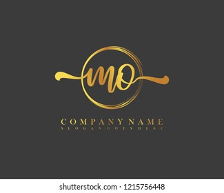 MO initial handwriting logo circle template vector