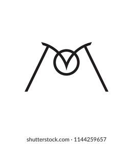 MO logo letter design with eagle beak
