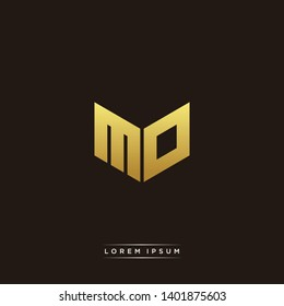 MO Logo Letter Initial Logo Designs Templete with Gold and Black Background