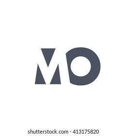 MO Logo. Vector Graphic Branding Letter Element. White Background