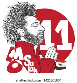 Mo Salah, a Egyptian Professional footballer who plays as a forward for Liverpool FC, Portrait by Freehand Drawing Illustration 4 colour Vector. June 11, 2019