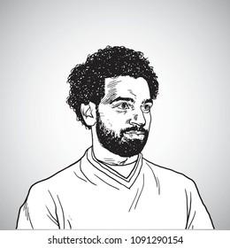 Mo Salah Vector Portrait Cartoon Caricature Drawing Illustration. May 15, 2018