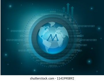 Moac Cryptocurrency Coin Global Binary Background