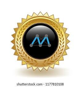 Moac Cryptocurrency Coin Gold Badge Medal Award