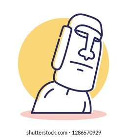 Moai Icon - Travel and Destination with Outline Style