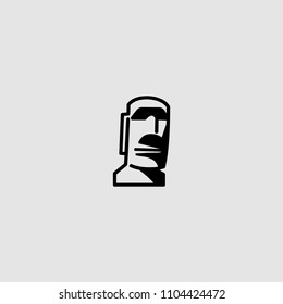 Moai icon . Vector Moai illustration. Moai icon on gray backround