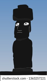 Moai Monolithic Statues Polynesia Easter Islands. Vector travel illustration, banner or logo. The Moai statues of Easter island, Polynesia, Chili. Stone idols of Rapa Nui island. World attraction