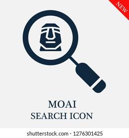 Moai search icon. Editable Moai search icon for web or mobile.