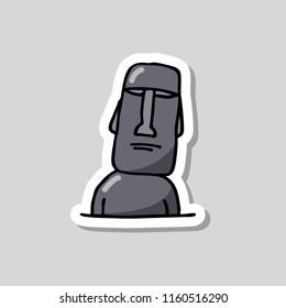 Moai statue sticker doodle icon