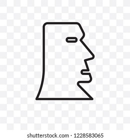 Moai vector linear icon isolated on transparent background, Moai transparency concept can be used for web and mobile