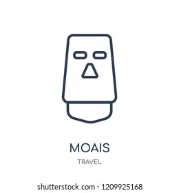 Moais icon. Moais linear symbol design from Travel collection. Simple outline element vector illustration on white background.