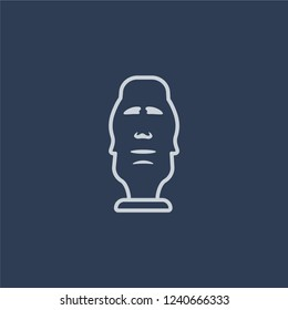 Moais icon. Trendy flat vector line Moais icon on dark blue background from Architecture and Travel collection.