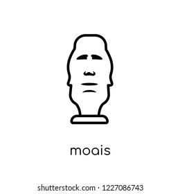 Moais icon. Trendy modern flat linear vector Moais icon on white background from thin line Architecture and Travel collection, editable outline stroke vector illustration